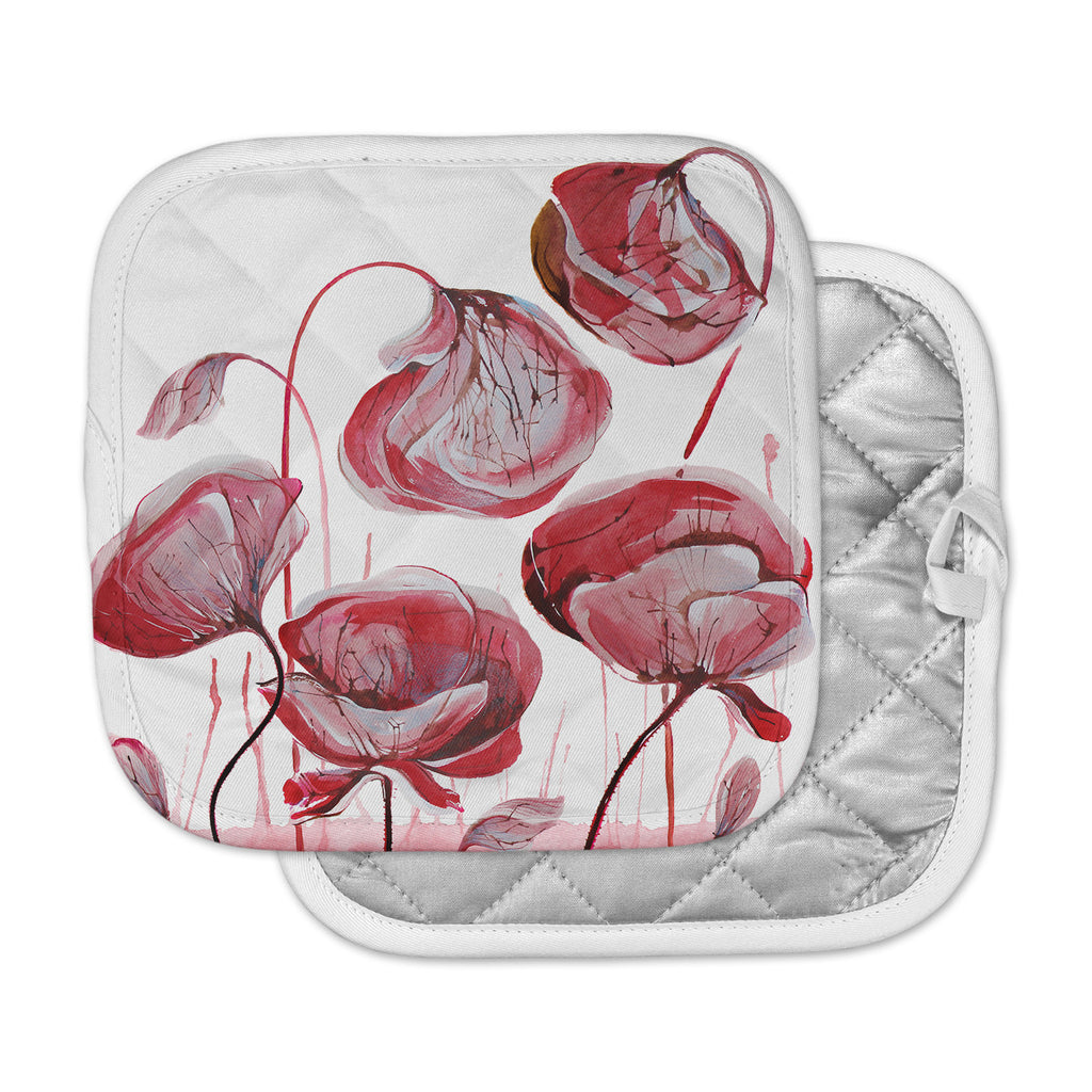 "Ivan Joh ""Poppies"" Watercolor Red Pot Holder"