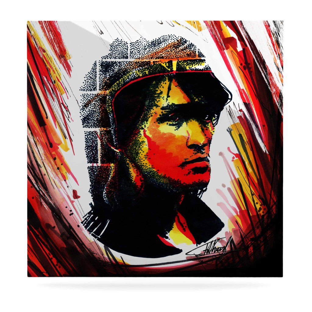 "Ivan Joh ""Tsoi Is Alive"" Red People Luxe Square Panel - KESS InHouse  - 1"