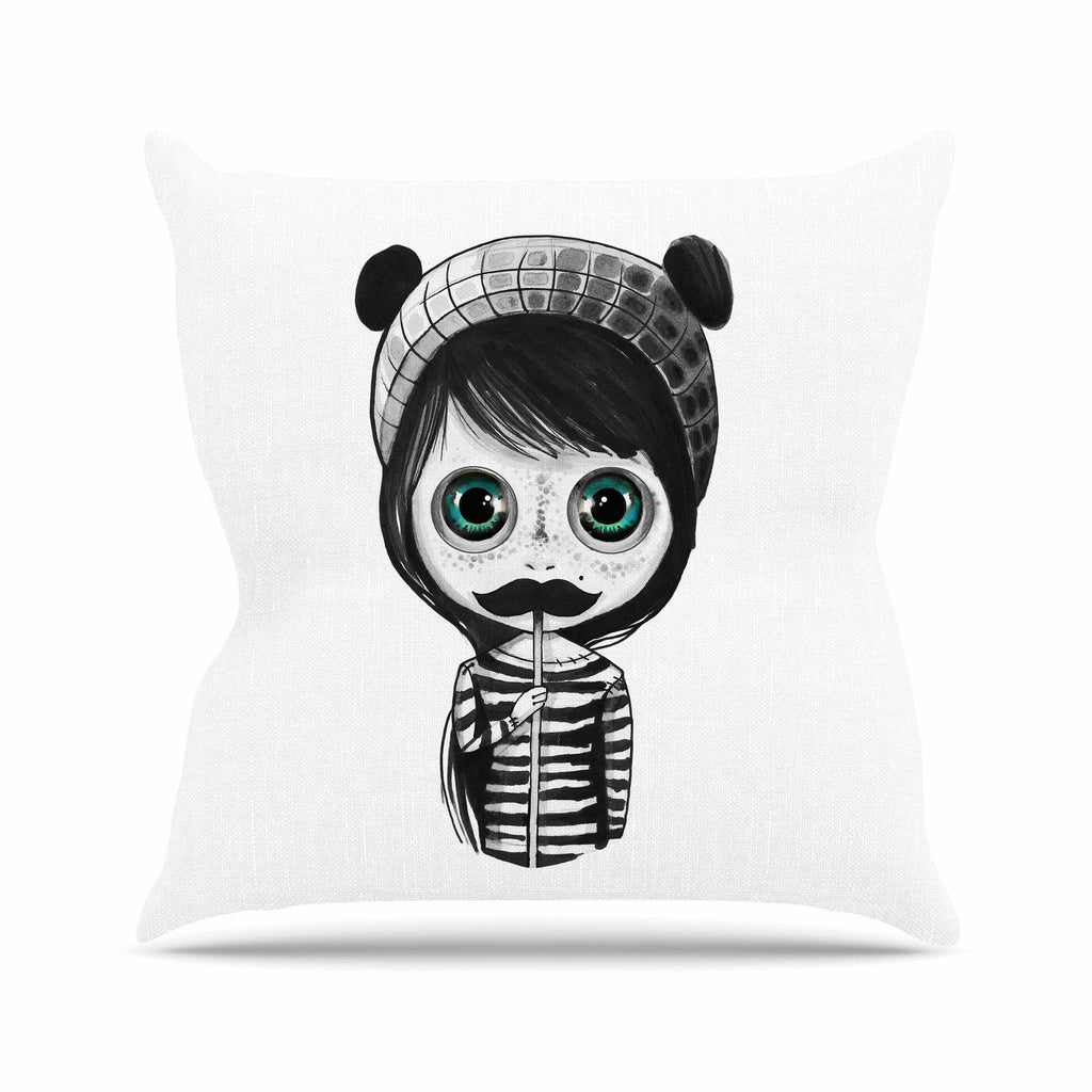 "Ivan Joh ""Cute Mustache"" Blue Green Painting Throw Pillow"