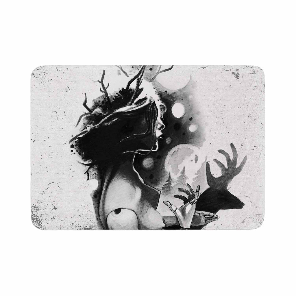 "Ivan Joh ""Shadow Play"" Black White Painting Memory Foam Bath Mat"