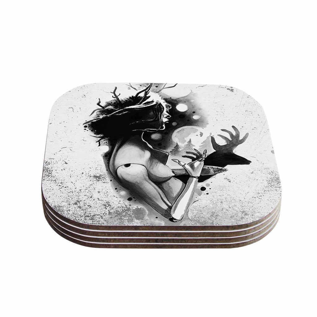 "Ivan Joh ""Shadow Play"" Black White Painting Coasters (Set of 4)"