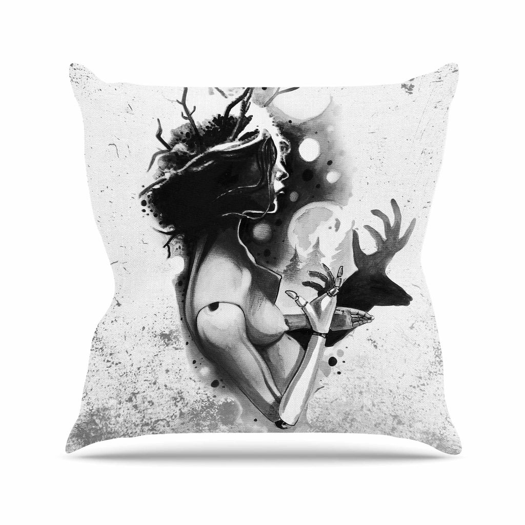 "Ivan Joh ""Shadow Play"" Black White Painting Outdoor Throw Pillow"