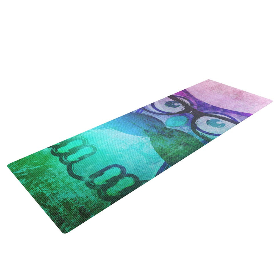 "iRuz33 ""Showly Teal"" Yoga Mat - KESS InHouse  - 1"