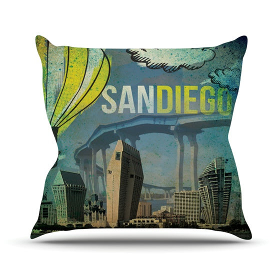 "iRuz33 ""San Diego"" Throw Pillow - KESS InHouse  - 1"