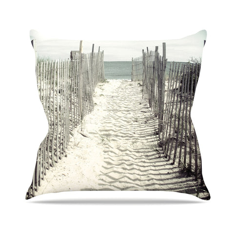"Jillian Audrey ""Welcome to the Beach"" Brown Gray Throw Pillow - Outlet Item - KESS InHouse"
