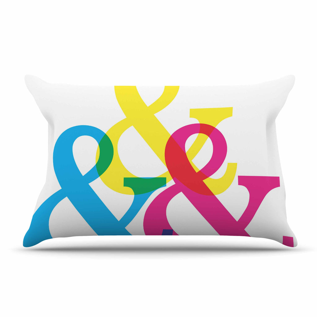 "Jackie Rose ""CYMK Ampersands"" Colorful White Pillow Sham - KESS InHouse"