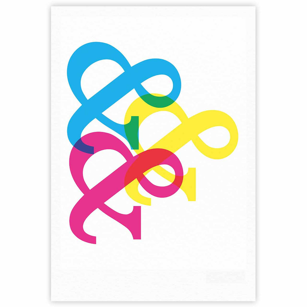 "Jackie Rose ""CYMK Ampersands"" Colorful White Fine Art Gallery Print - KESS InHouse"