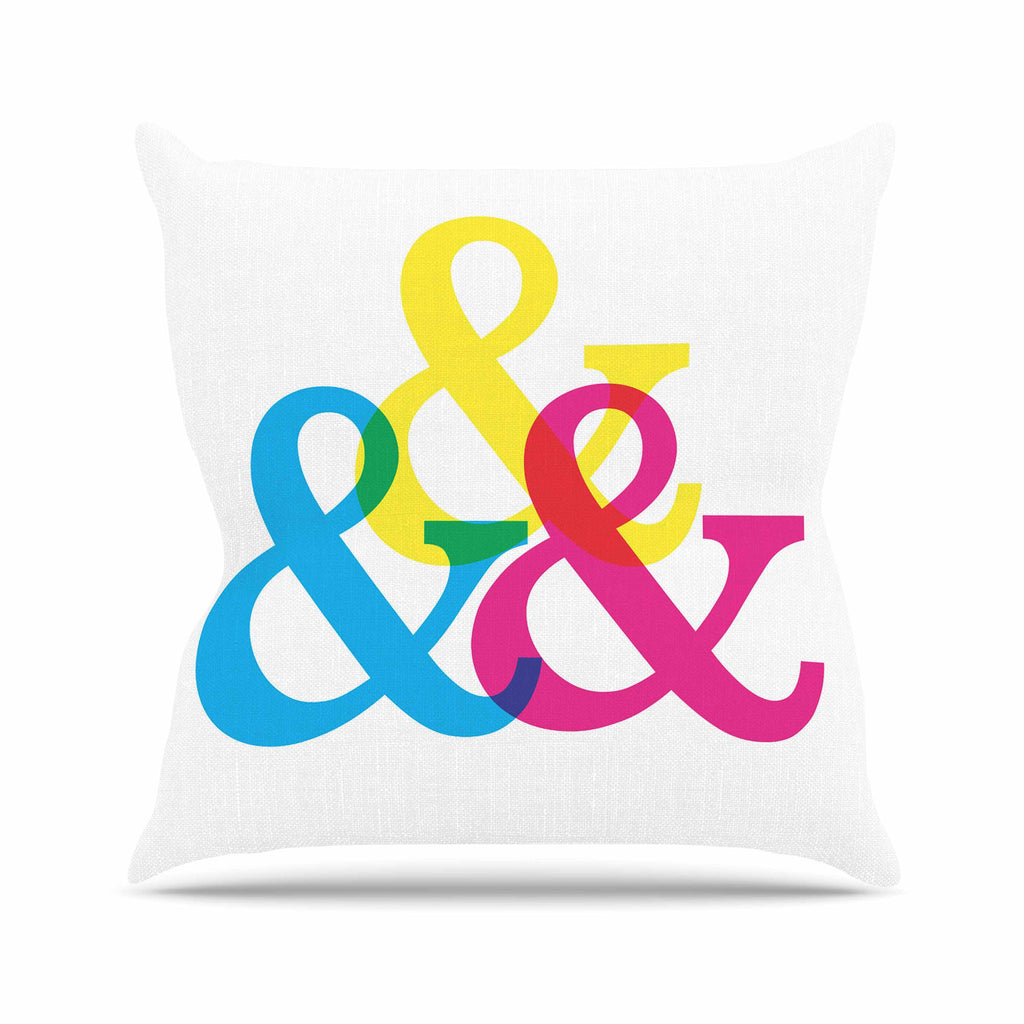 "Jackie Rose ""CYMK Ampersands"" Colorful White Outdoor Throw Pillow - KESS InHouse  - 1"