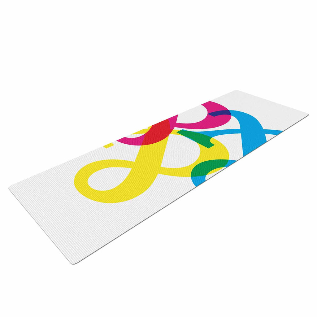 "Jackie Rose ""CYMK Ampersands"" Colorful White Yoga Mat - KESS InHouse  - 1"