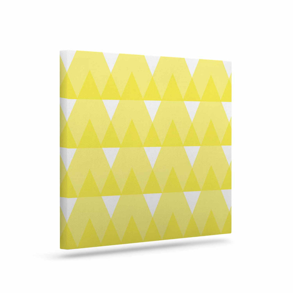 "Jackie Rose ""Yellow Triangles"" Custard White Canvas Art - KESS InHouse  - 1"