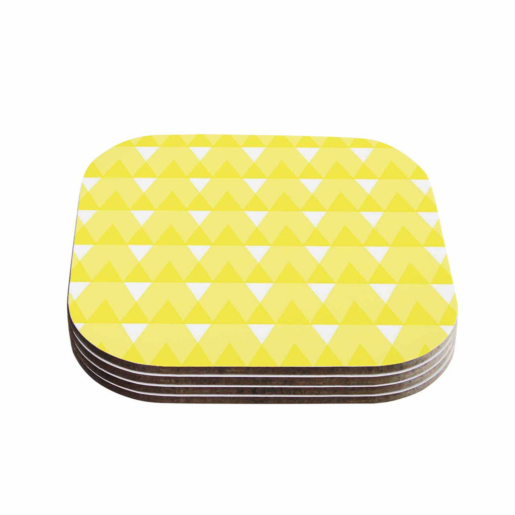 "Jackie Rose ""Yellow Triangles"" Custard White Coasters (Set of 4)"