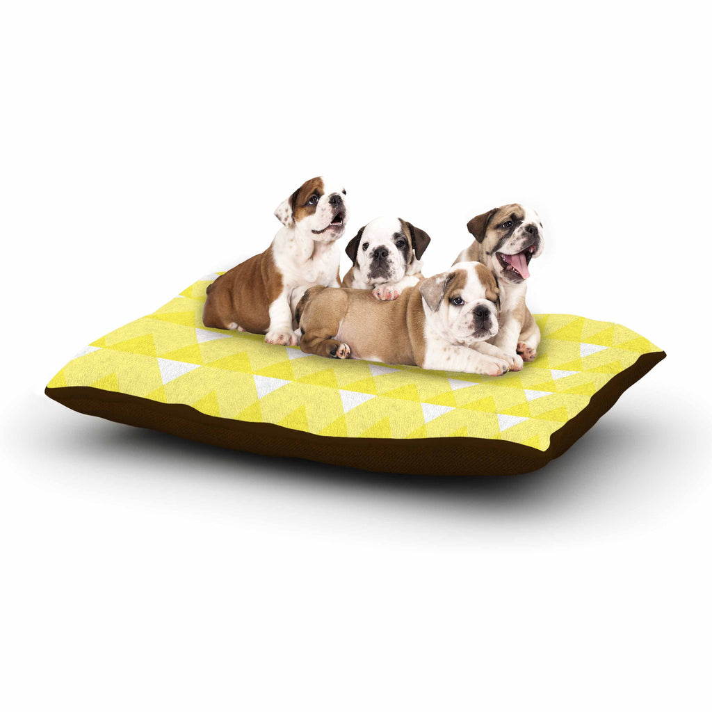 "Jackie Rose ""Yellow Triangles"" Custard White Dog Bed - KESS InHouse"