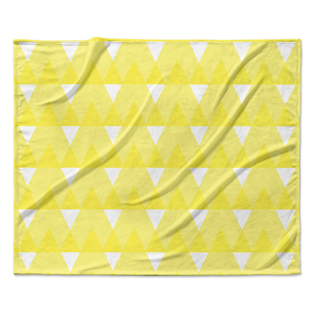 "Jackie Rose ""Yellow Triangles"" Custard White Fleece Throw Blanket"