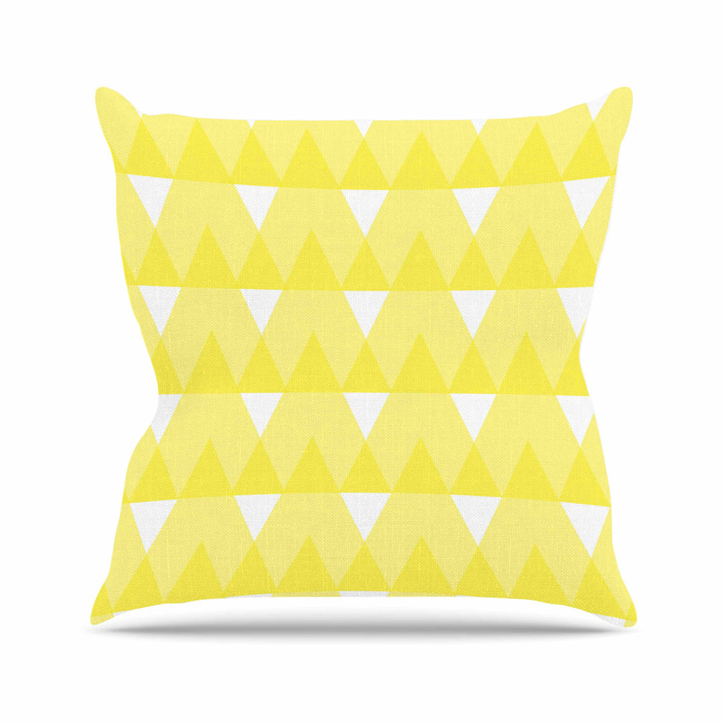 "Jackie Rose ""Yellow Triangles"" Custard White Throw Pillow - KESS InHouse"