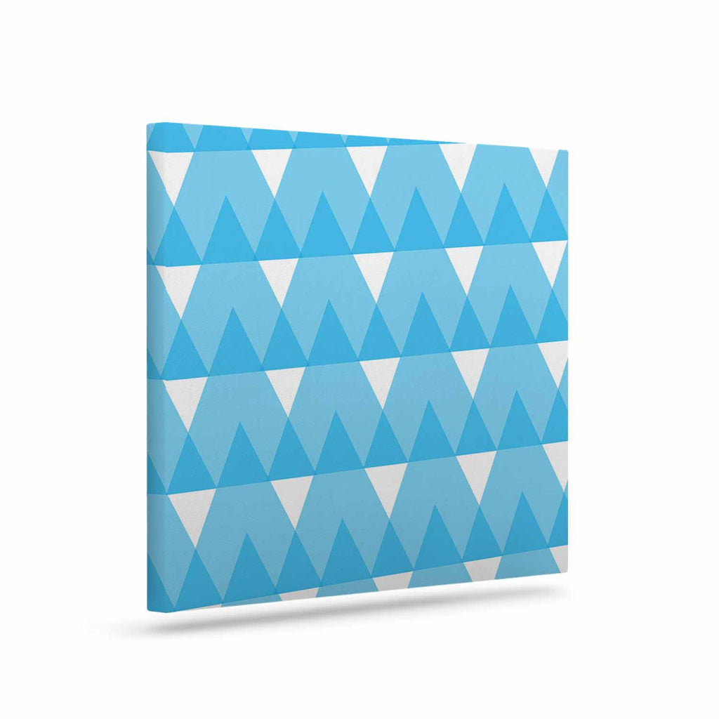 "Jackie Rose ""Cyan Triangles"" White Blue Canvas Art - KESS InHouse  - 1"