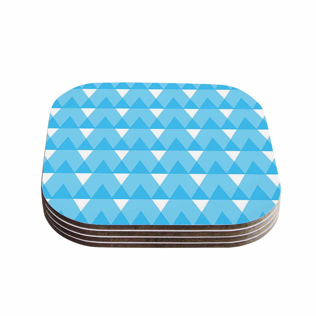 "Jackie Rose ""Cyan Triangles"" White Blue Coasters (Set of 4)"