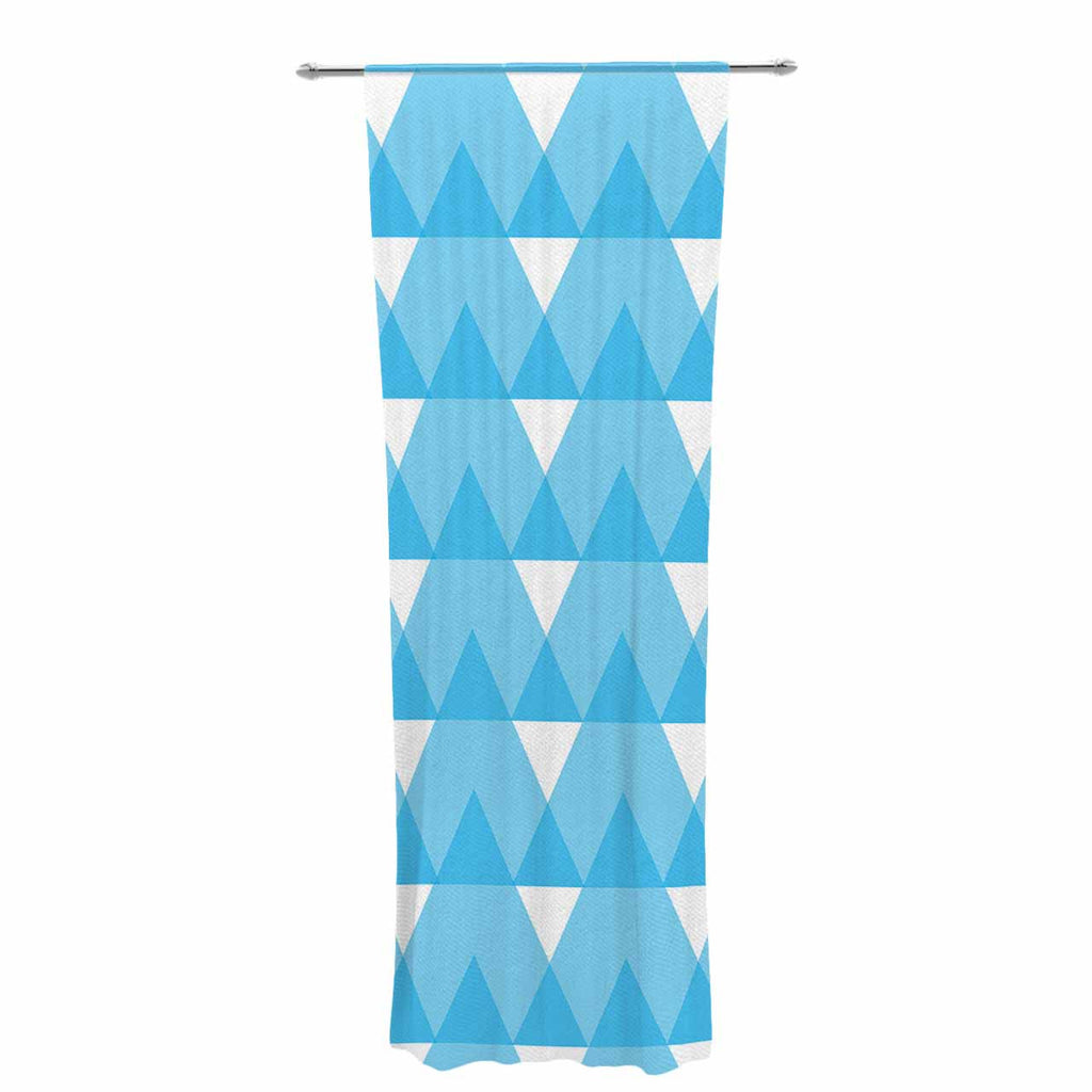 "Jackie Rose ""Cyan Triangles"" White Blue Decorative Sheer Curtain - KESS InHouse  - 1"