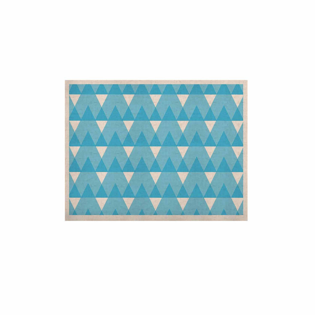 "Jackie Rose ""Cyan Triangles"" White Blue KESS Naturals Canvas (Frame not Included) - KESS InHouse  - 1"