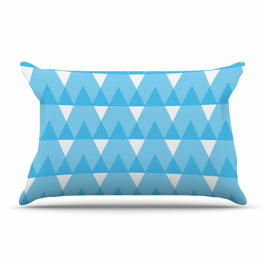 "Jackie Rose ""Cyan Triangles"" White Blue Pillow Sham - KESS InHouse"