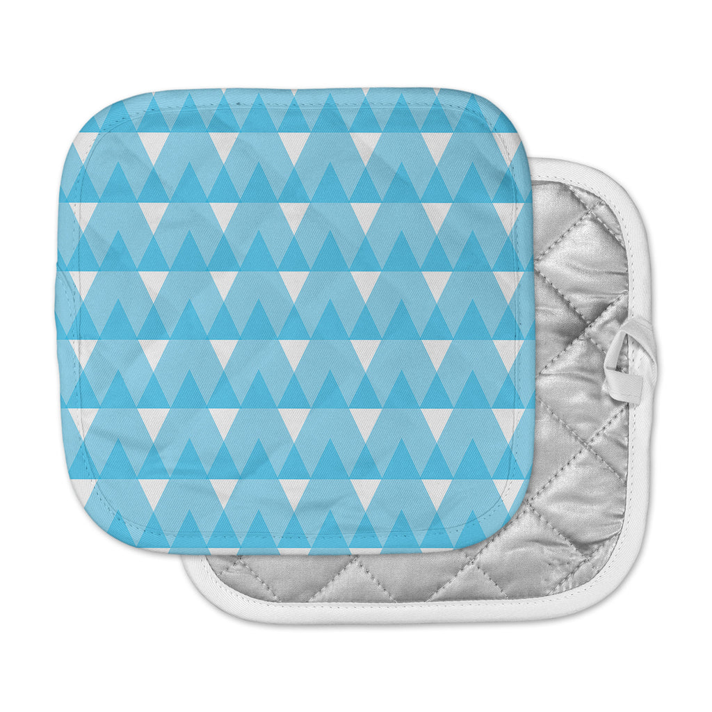 "Jackie Rose ""Cyan Triangles"" White Blue Pot Holder"