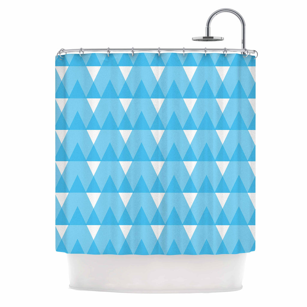 "Jackie Rose ""Cyan Triangles"" White Blue Shower Curtain - KESS InHouse"
