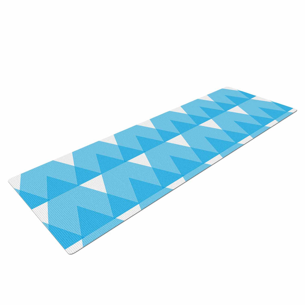 "Jackie Rose ""Cyan Triangles"" White Blue Yoga Mat - KESS InHouse  - 1"