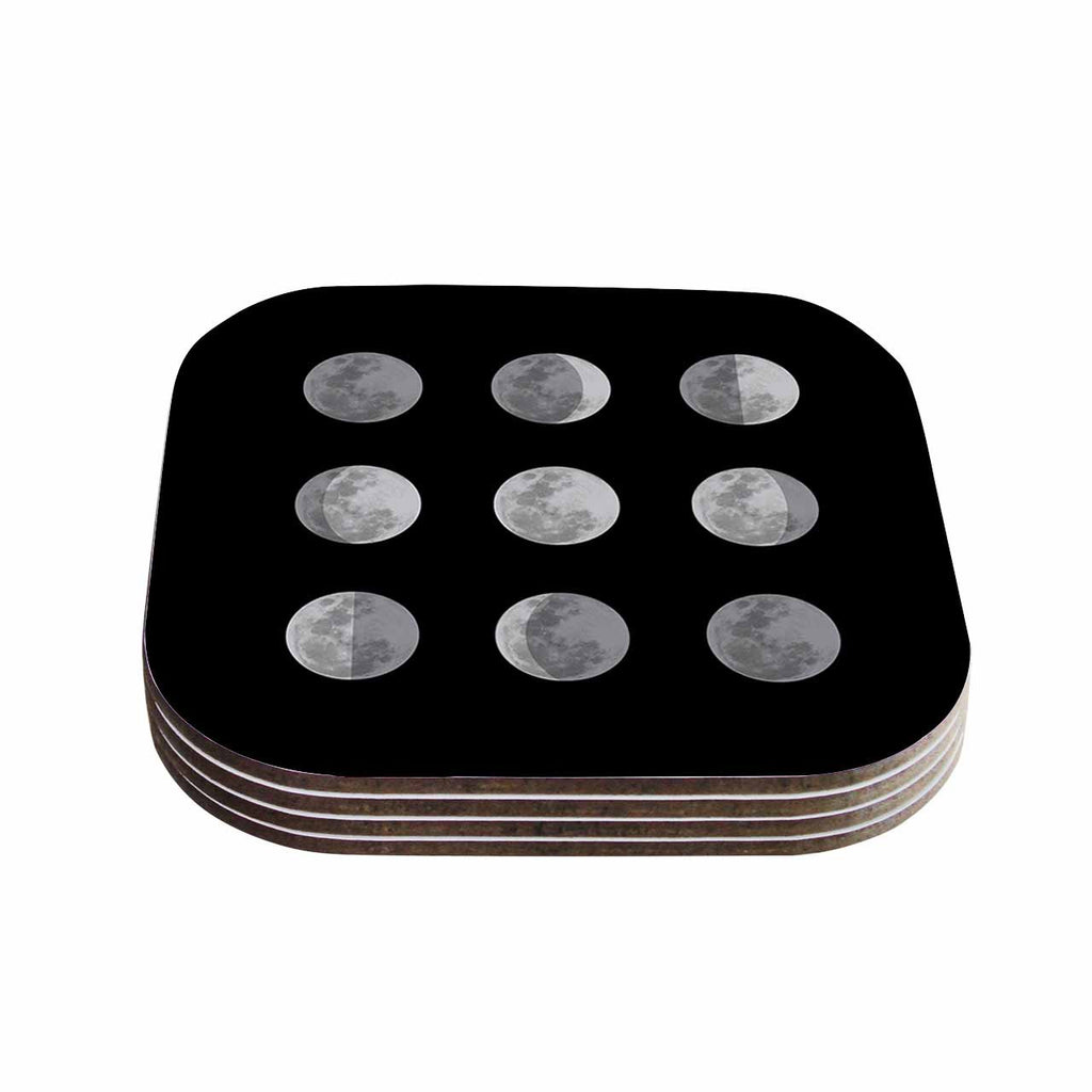 "Jackie Rose ""Lunar OCD"" Black Gray Coasters (Set of 4)"