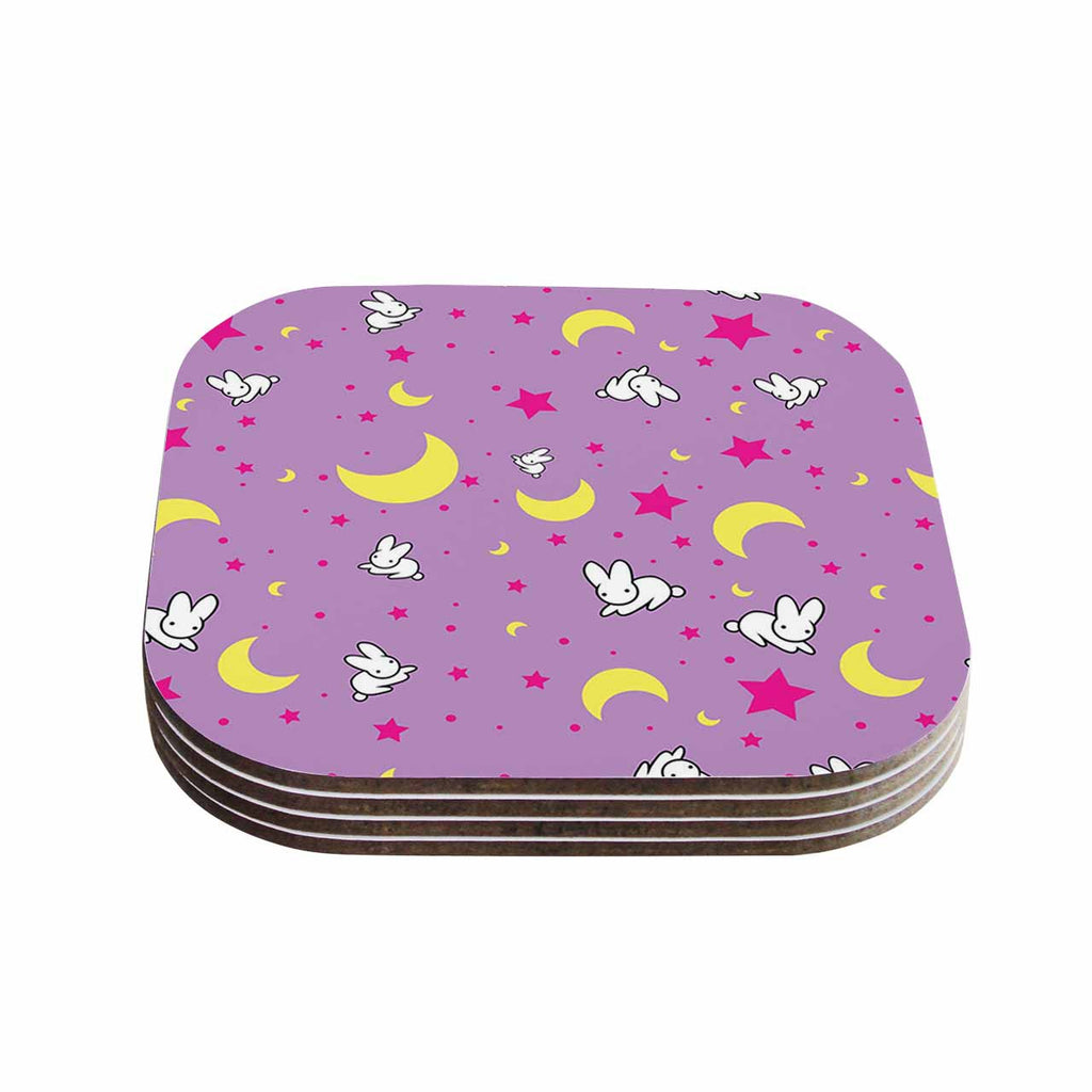 "Jackie Rose ""Goodnight Usagi"" Lavender Magenta Coasters (Set of 4)"