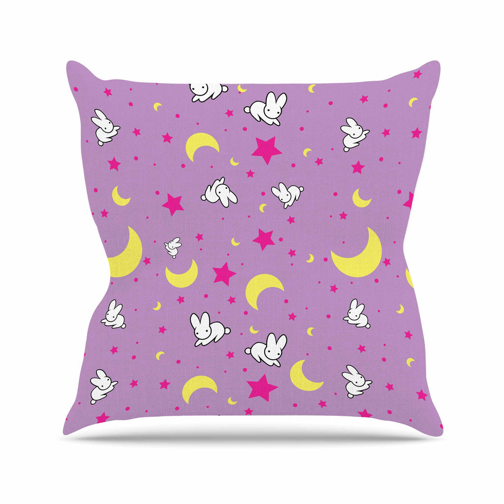 "Jackie Rose ""Goodnight Usagi"" Lavender Magenta Outdoor Throw Pillow - KESS InHouse  - 1"