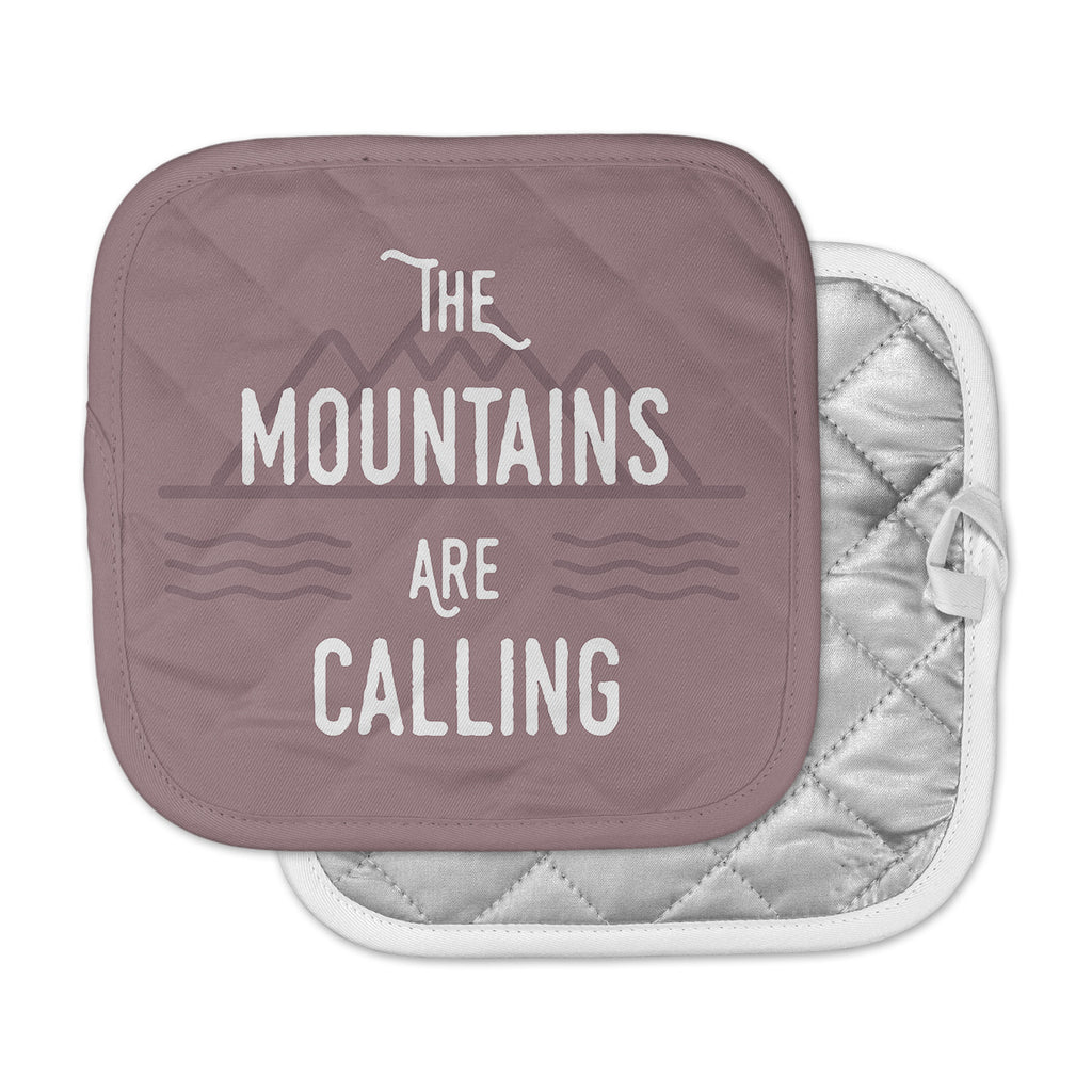 "Jackie Rose ""The Mountains Are Calling"" Purple Typography Pot Holder"