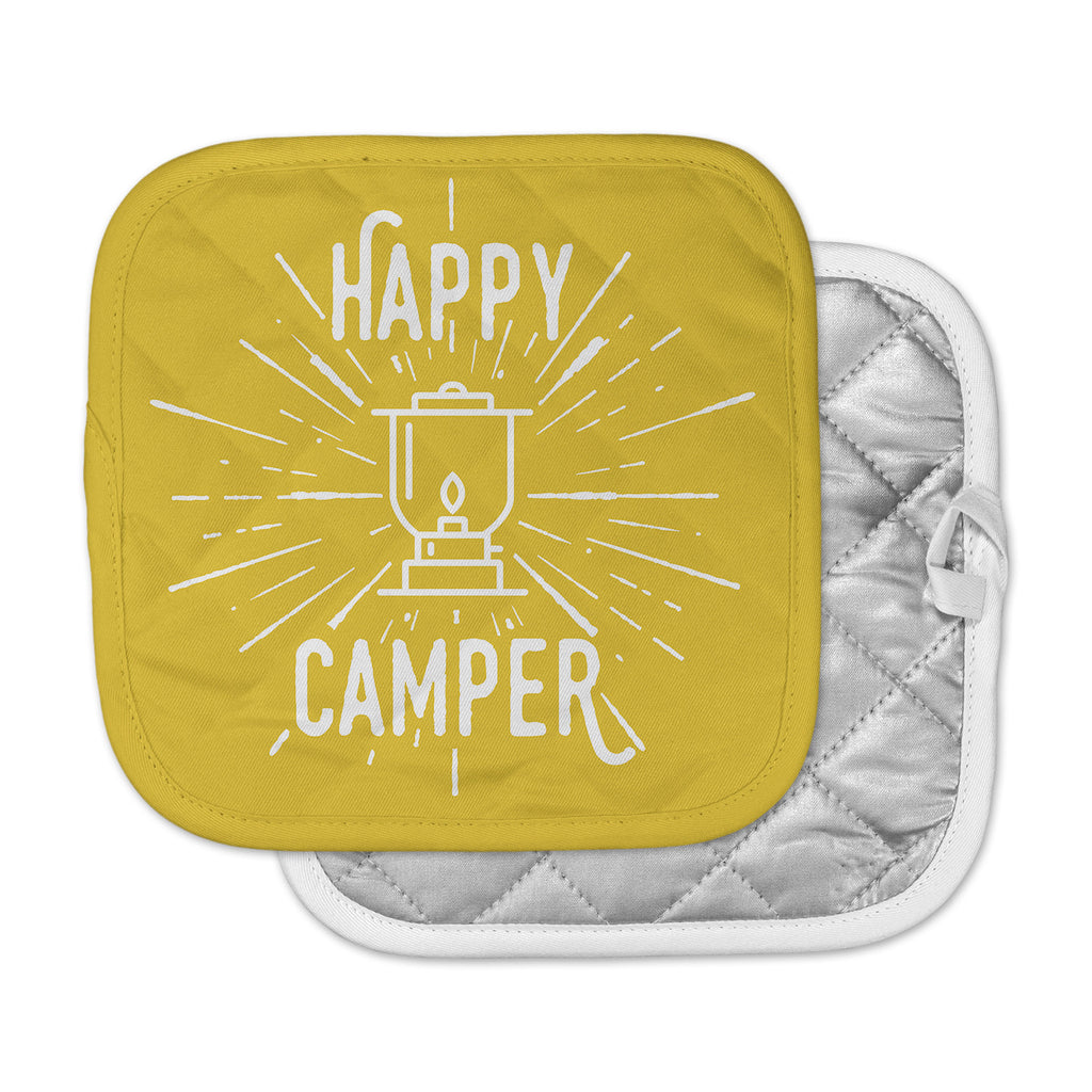 "Jackie Rose ""Happy Camper"" Yellow Typography Pot Holder"