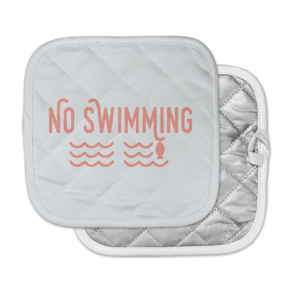 "Jackie Rose ""No Swimming"" Pink Typography Pot Holder"