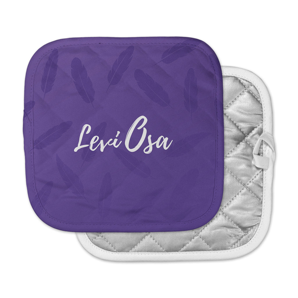 "Jackie Rose ""Swish And Flick "" Purple Typography Pot Holder"