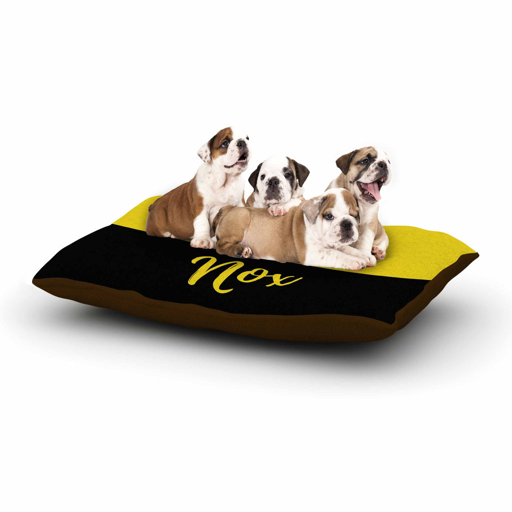 "Jackie Rose ""Turn On The Light"" Yellow Typography Dog Bed - KESS InHouse  - 1"