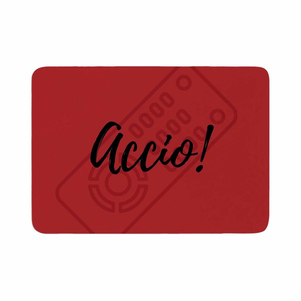 "Jackie Rose ""Accio! Remote"" Red Illustration Memory Foam Bath Mat - KESS InHouse"