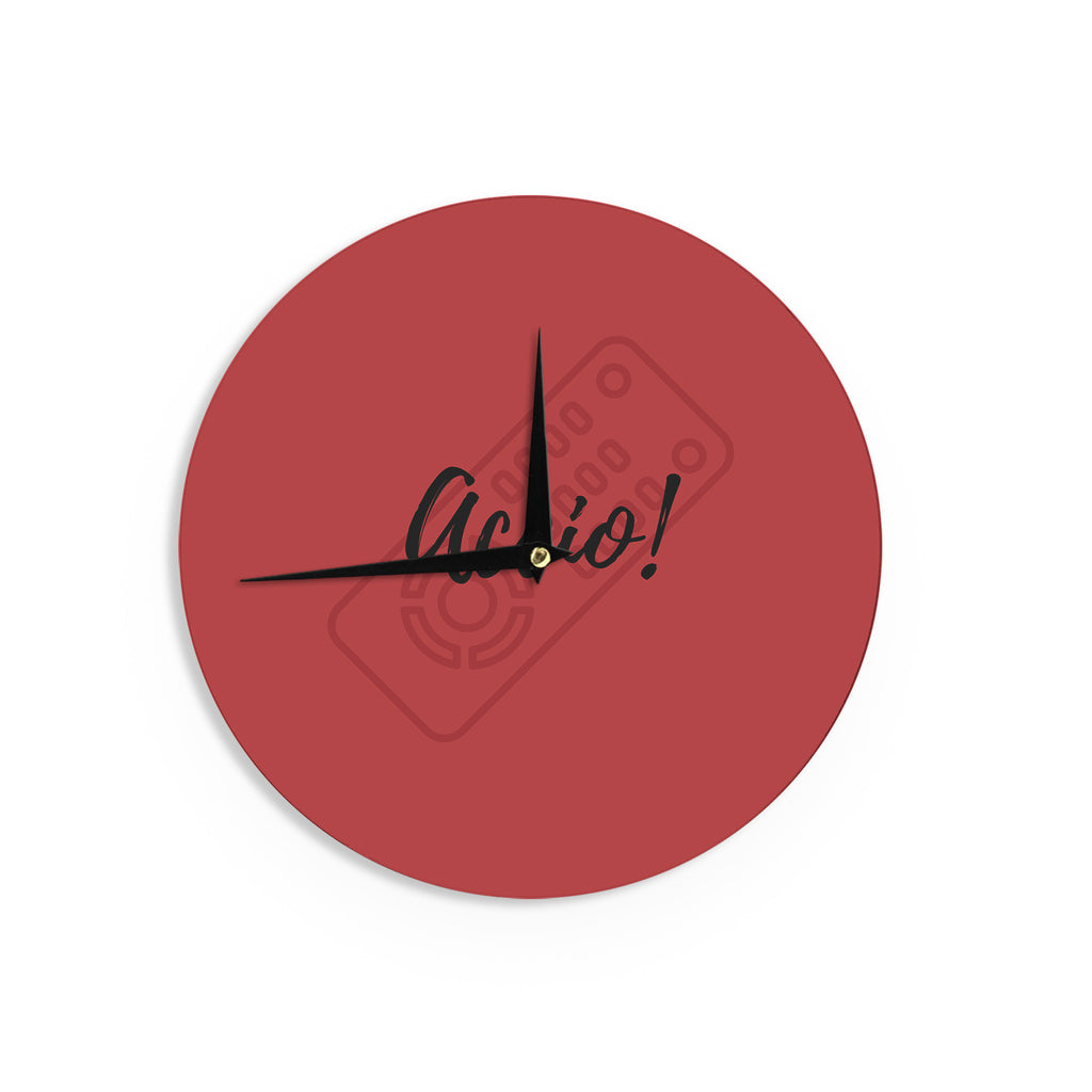 "Jackie Rose ""Accio! Remote"" Red Illustration Wall Clock - KESS InHouse"