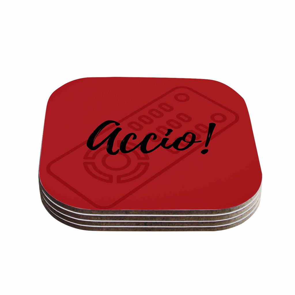 "Jackie Rose ""Accio! Remote"" Red Illustration Coasters (Set of 4)"