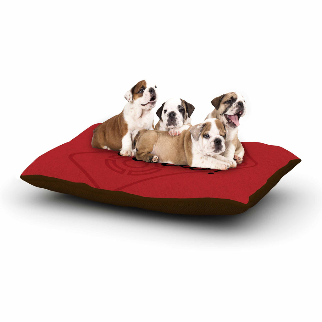 "Jackie Rose ""Accio! Remote"" Red Illustration Dog Bed - KESS InHouse  - 1"