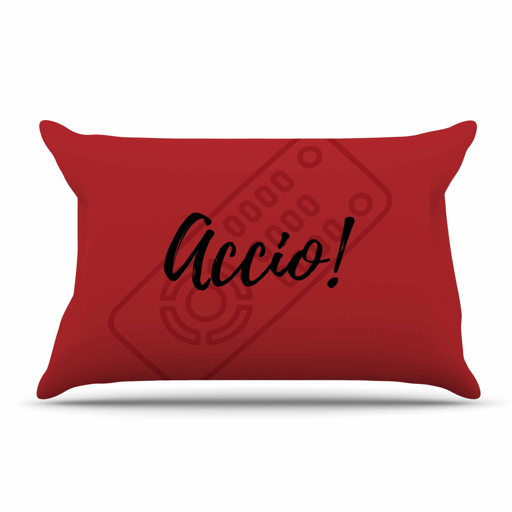 "Jackie Rose ""Accio! Remote"" Red Illustration Pillow Sham - KESS InHouse  - 1"