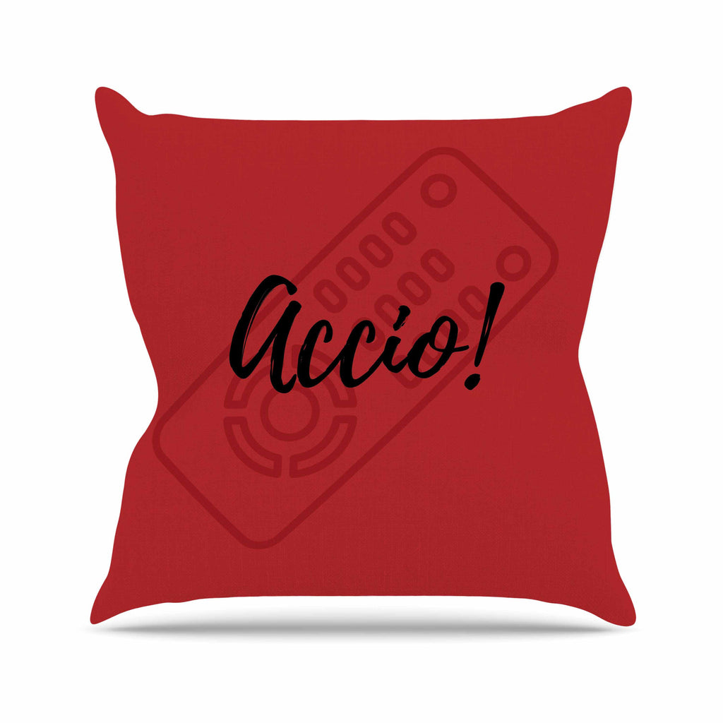 "Jackie Rose ""Accio! Remote"" Red Illustration Outdoor Throw Pillow - KESS InHouse  - 1"