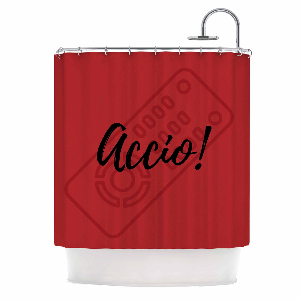 "Jackie Rose ""Accio! Remote"" Red Illustration Shower Curtain - KESS InHouse"