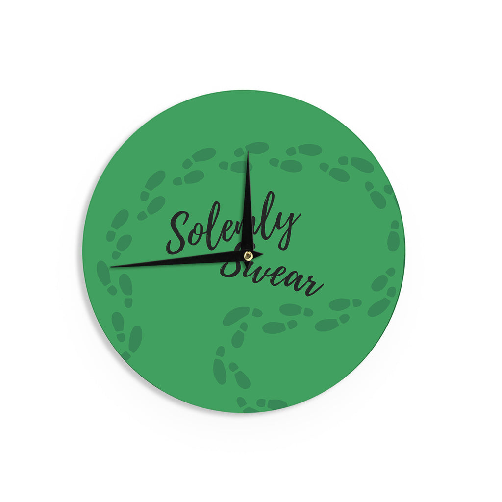 "Jackie Rose ""Solemly Swear"" Green Illustration Wall Clock - KESS InHouse"