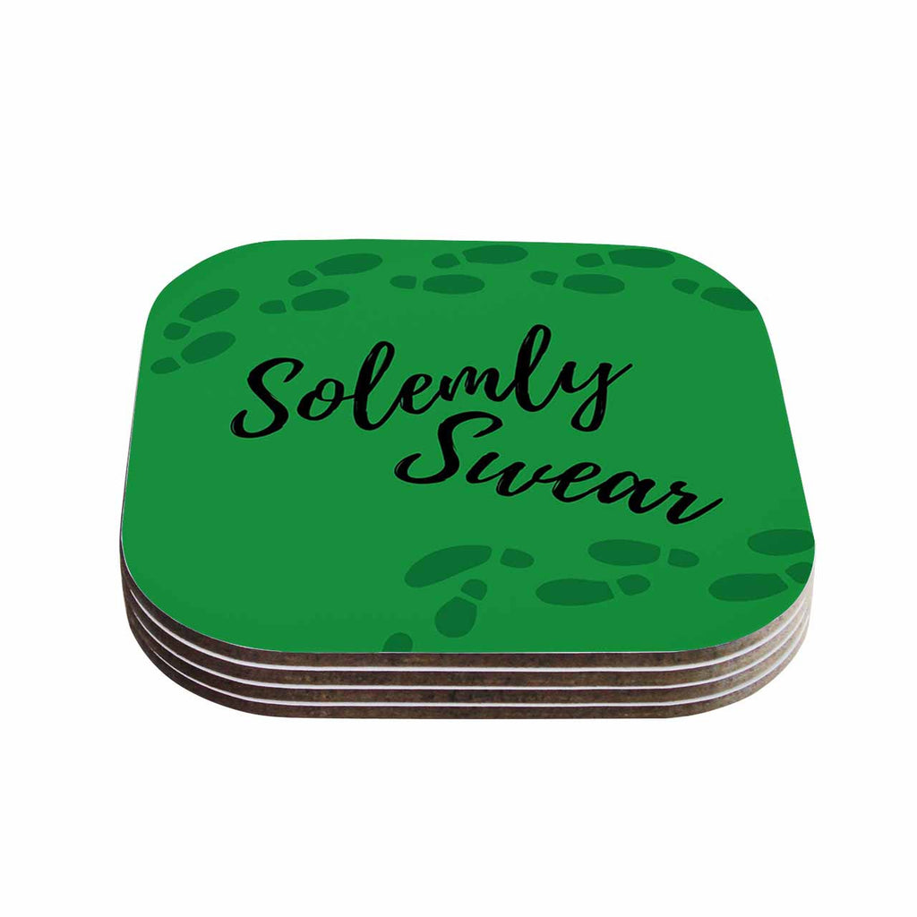 "Jackie Rose ""Solemly Swear"" Green Illustration Coasters (Set of 4)"