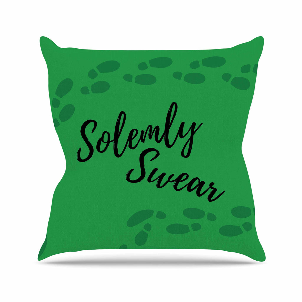 "Jackie Rose ""Solemly Swear"" Green Illustration Outdoor Throw Pillow - KESS InHouse  - 1"