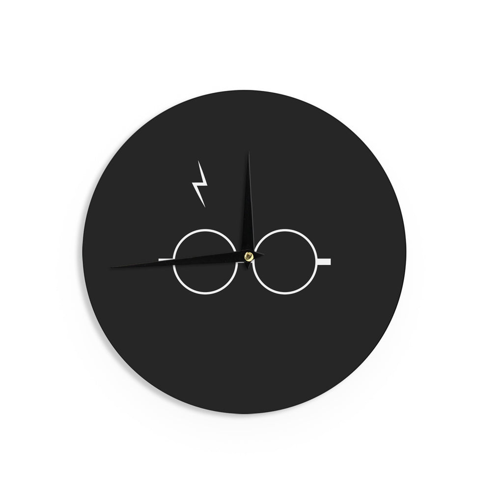 "Jackie Rose ""The Boy Who Lived"" White Illustration Wall Clock - KESS InHouse"