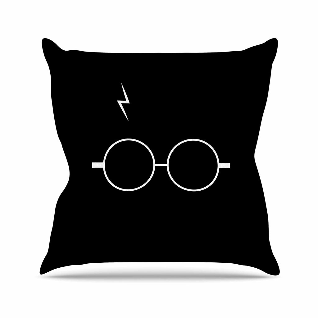 "Jackie Rose ""The Boy Who Lived"" White Illustration Outdoor Throw Pillow - KESS InHouse  - 1"