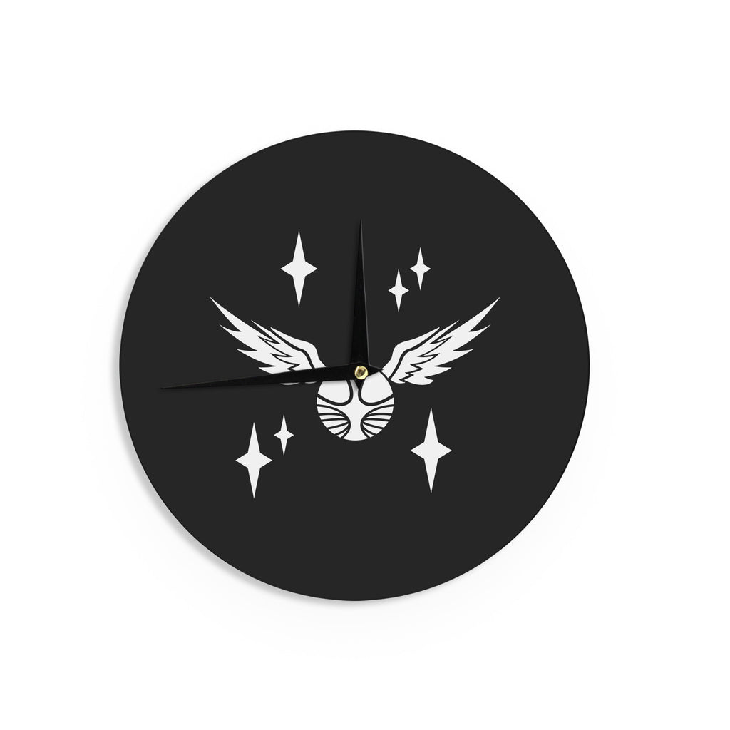 "Jackie Rose ""Golden Snitch"" Black Fantasy Wall Clock - KESS InHouse"
