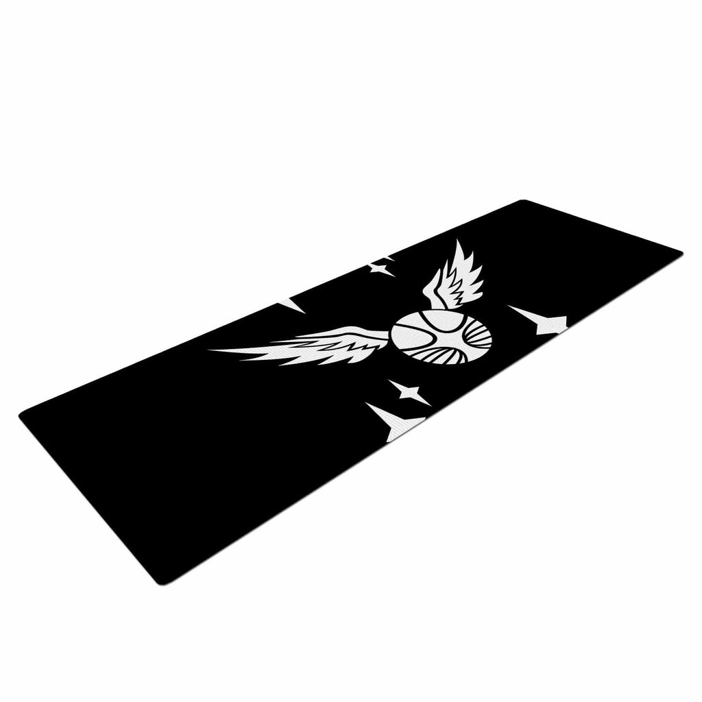 "Jackie Rose ""Golden Snitch"" Black Fantasy Yoga Mat - KESS InHouse  - 1"