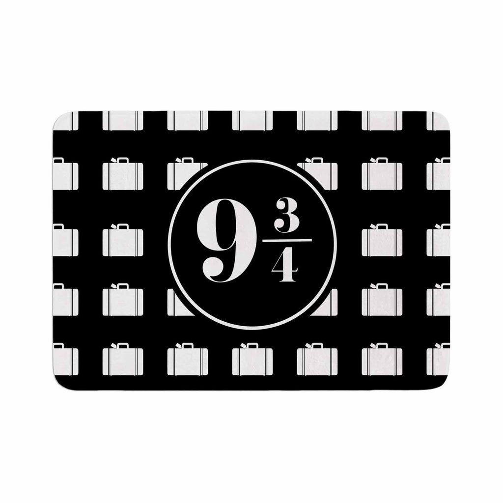 "Jackie Rose ""Platform Between 9 3/4"" Black White Memory Foam Bath Mat - KESS InHouse"