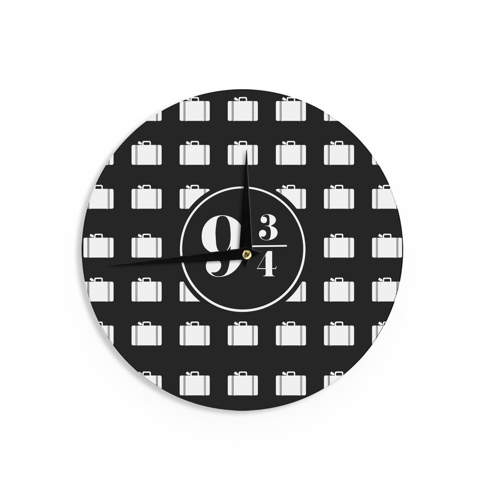 "Jackie Rose ""Platform Between 9 3/4"" Black White Wall Clock - KESS InHouse"